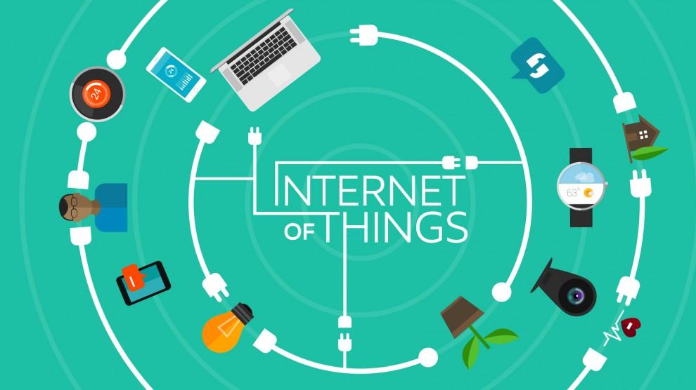 Représentation en flat design de l'internet des objets.