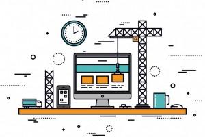 Flat design symbolisant la construction d'un site web avec une grue.